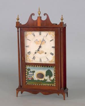 Eli  Samuel Terry Federal mahogany pillar and scroll clock ca 1815