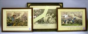 Two Framed Currier  Ives Small Folio Handcolored Civil War Lithographs and a Framed Lincoln Lithograph