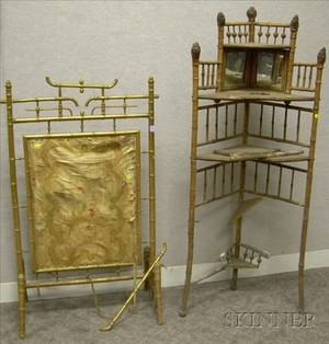 Victorian Aesthetic Gilt Faux Bamboo and Embroidered Silk Firescreen and a Bamboo Corner Etagere
