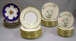 Set of Twelve Mintons Gilt Porcelain Dessert Plates a Set of Six Worcester Handpainted Floral Decorated Desse