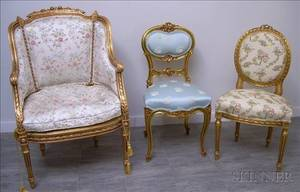 Louis XVI Style Brocade Upholstered Carved Giltwood Armchair and Side Chair and a Louis XV Style Upholstered C