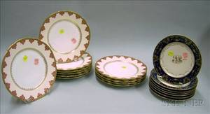 Set of Eleven Limoges Decorated Porcelain Plates and a Set of Seven Dresden Decorated Porcelain Plates