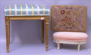 Louis XVI Style Upholstered Carved and Painted Footstool Giltwood Stool and a Needlepoint Upholstered Footsto