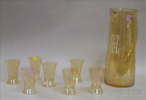 Large Enameled Monogrammed Amber Glass Cocktail Pitcher with a Set of Seven Glasses