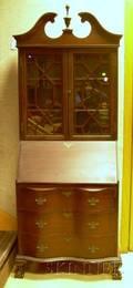Maddox Furniture Chippendalestyle Carved Mahogany and Mahogany Veneer Slantlid Serpentine DeskSecretary