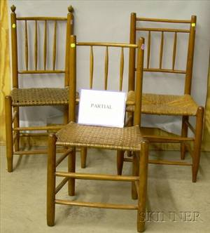 Assembled Set of Six Spindleback Side Chairs with Woven Splint Seats