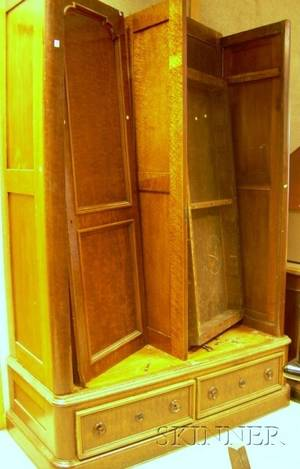 Victorian Burl Veneer and Birdseye Maple Veneer TwoDoor Armoire