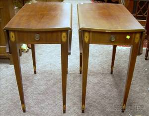 Pair of Kittinger Gainsborough Chippendalestyle Inlaid Mahogany Dropleaf Tables with End Drawer and a Pair o