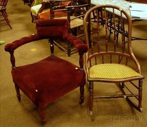 Victorian Velvet Upholstered Turned Oak Corner Chair and Caned Sackback Rocker