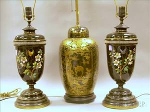 Pair of Victorian Enamel Floral Decorated Black Glass Table Lamps and a Japanese Gilt Decorated Jar Table Lamp