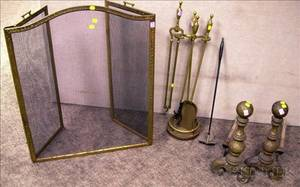 Pair of Brass Andirons a Set of Three Brass Fireplace Tools with a Stand and a Screen