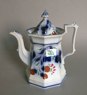 Gaudy Welsh strawberry coffee pot