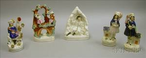 Four Staffordshire Pottery Figures and Figural Groups and a Figural Spill Vase
