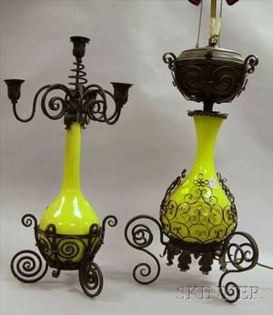 Wrought Iron Mounted Yellow Glazed Ceramic Vase Table Lamp and a Wrought Iron Mounted Yellow Glass Table Lamp