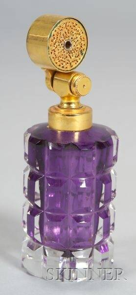 Giltmetal Mounted Amethyst and Colorless Glass Cologne