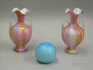 Pair of Victorian Quilted Satin Motherofpearl Rainbow Glass Vases and a Quilted Satin Glass Paperweight