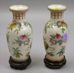 Pair of Chinese Fruit Decorated Porcelain Vases on Stands