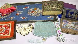 Ten Assorted Asian Embroidered and Brocade Textile Items