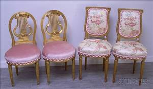 Two Pairs of Louis XVI Style Upholstered Carved Giltwood Side Chairs