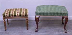 Louis XVI Style Upholstered Beechwood Footstool and a Georgianstyle Upholstered Carved Mahogany Stool