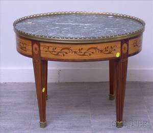 Regencystyle Oval Brassmounted Marbletop Marquetry and Rosewood Veneer Low Table