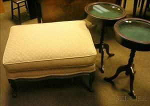Pair of Circular Mahoganyfinished Vitrine Stands and a Louis XV Style Upholstered Ottoman