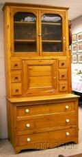 Country Pine Stepback Twopart Kitchen Cabinet