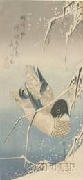 Hiroshige Wild Duck in Snowy Pond