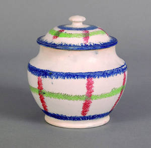 Blue red and green plaid spatter covered sugar 19th c