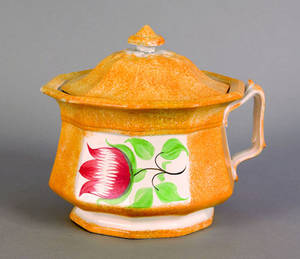 Yellow spatter covered pot 19th c