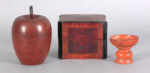 English mahogany apple form tea caddy 19th c