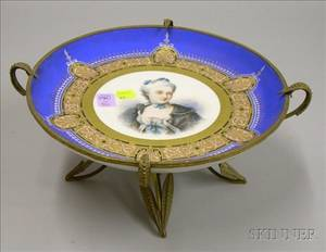 Renaissance Revival Giltmetal Mounted Handpainted Porcelain Portrait Plate on Stand