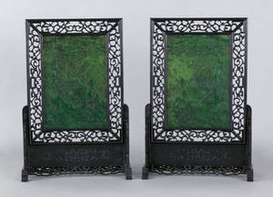 Pair of large Chinese spinach jade screens
