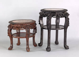 Two Chinese carved marble top stands early 20th c