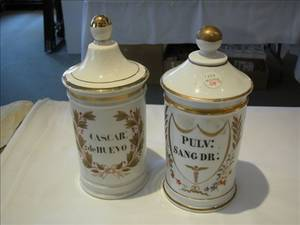 Two French Porcelain Pharmacy Jars