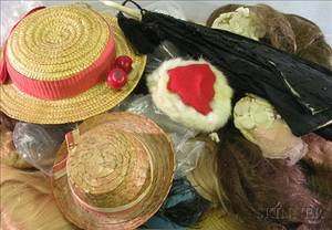 Miscellaneous Group of Doll Hats and Wigs