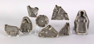 Eight tinned sheet iron cookie cutters 19th c
