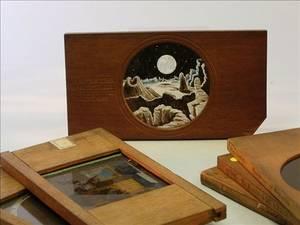 Thirteen Woodmounted Magic Lantern Slides