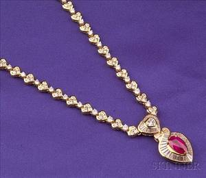 18kt Gold Ruby and Diamond Necklace