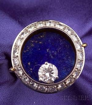18kt Gold Lapis and Diamond Ring