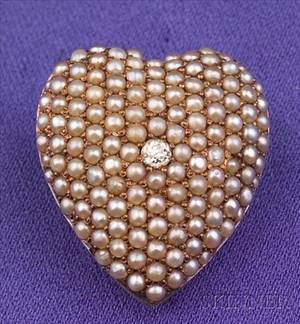 Antique 14kt Gold Seed Pearl and Diamond PendantBrooch