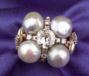 Diamond and Freshwater Pearl Ring