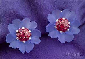 Stained Rock Crystal Ruby and Diamond Flower Head Earclips Aletto Bros