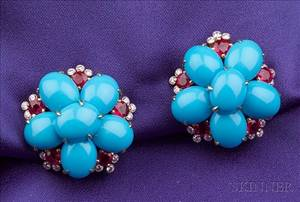 18kt Gold Turquoise Ruby and Diamond Flower Earclips Aletto Brothers