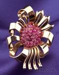Retro 14kt Gold and Ruby Flower Clip