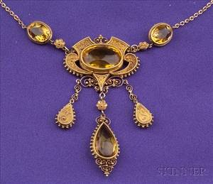 Antique 14kt Gold and Citrine Pendant Necklace