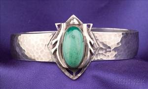 Arts  Crafts Sterling Silver and Turquoise Cuff Bracelet Art Silver Shop