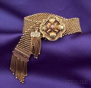 Antique 14kt Bicolor Gold and Enamel Bracelet