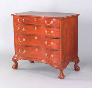 Massachusetts Chippendale mahogany oxbow chest of drawers ca 1770