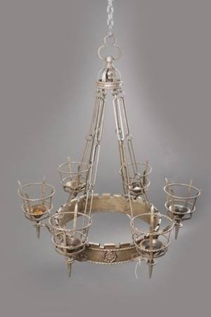 Gothic Revival Style Iron 6 Light Chandelier